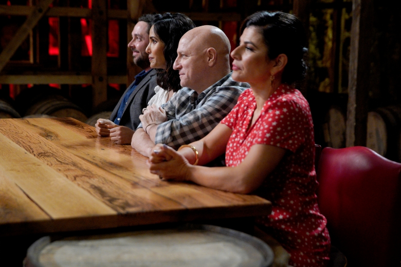"TOP CHEF -- ""Bourbon, Barrels and Burgoo"" Episode 1602 -- Pictured: (l-r) Padma Lakshmi, Tom Colicchio, Nilou Motamed -- (Photo by: Michael Hickey/Bravo)"