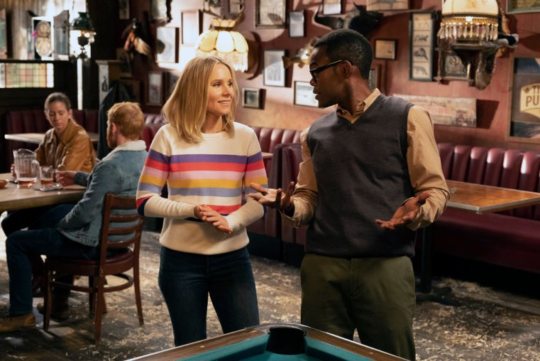 "THE GOOD PLACE -- ""Don't Let the Good Life Pass You By"" Episode 309 -- Pictured: (l-r) Kristen Bell as Eleanor Shellstrop, William Jackson Harper as Chidi -- (Photo by: Colleen Hayes/NBC)"