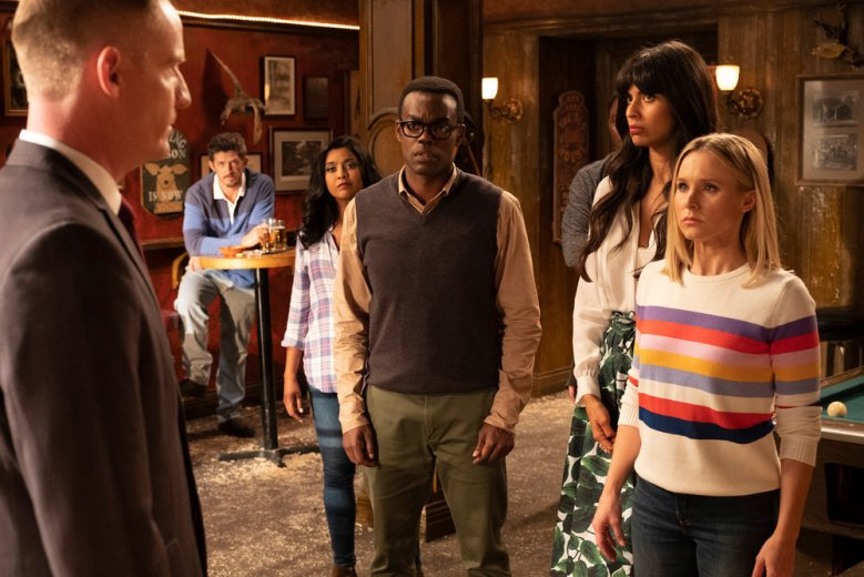 "THE GOOD PLACE -- ""Don't Let the Good Life Pass You By"" Episode 309 -- Pictured: (l-r) Marc Evan Jackson as Shawn, Tiya Sircar as Vicky, William Jackson Harper as Chidi, Jameela Jamil as Tahani, Kristen Bell as Eleanor Shellstrop -- (Photo by: Colleen Hayes/NBC)"