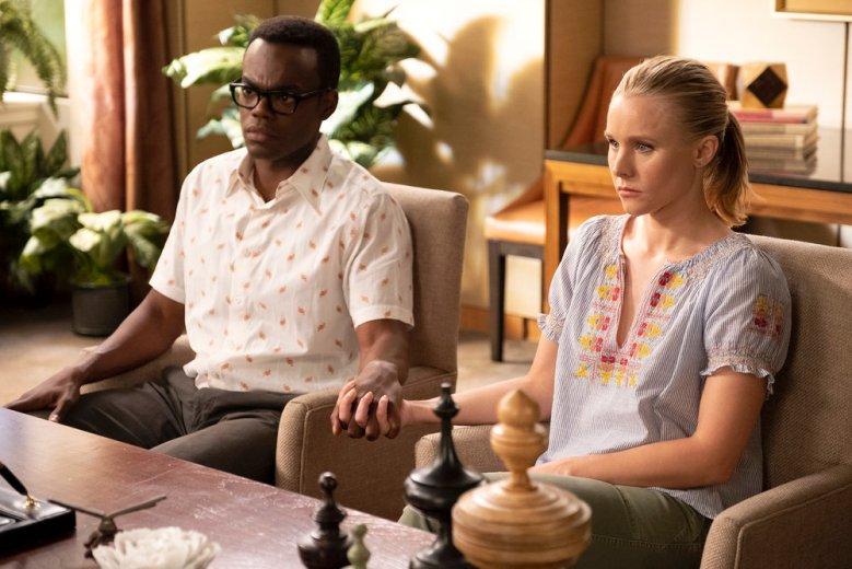 "THE GOOD PLACE -- ""The Worst Possible Use of Free Will"" Episode 308 -- Pictured: (l-r) William Jackson Harper as Chidi Anagonye, Kristen Bell as Eleanor Shellstrop -- (Photo by: Colleen Hayes/NBC)"