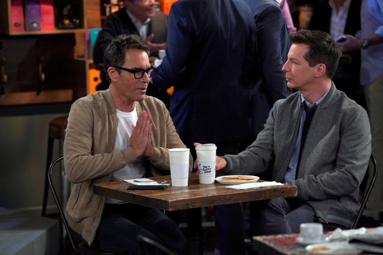 "WILL & GRACE -- ""Anchor Away"" Episode 206 -- Pictured: (l-r) Eric McCormack as Will Truman, Sean Hayes as Jack McFarland -- (Photo by: Chris Haston/NBC)"