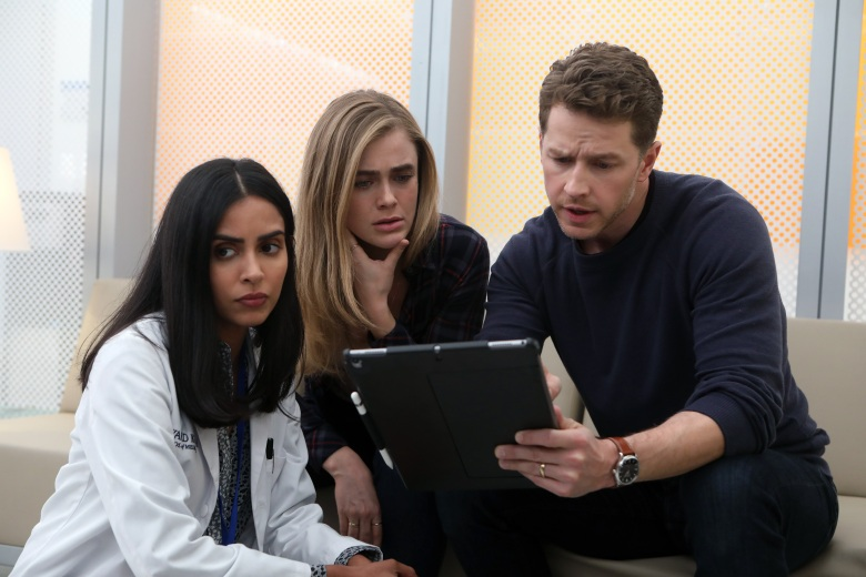 "MANIFEST -- ""Off Radar"" Episode 106 -- Pictured: (l-r) Parveen Kaur as Saanvi Bahl, Melissa Roxburgh as Michaela Stone, Josh Dallas as Ben Stone -- (Photo by: Craig Blankenhorn/NBC/Warner Brothers)"