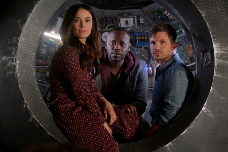 "TIMELESS -- ""The Miracle of Christmas Part II"" Episode 212 --  Pictured: (l-r) Abigail Spencer as Lucy Preston, Malcolm Barrett as Rufus Carlin, Matt Lanter as Wyatt Logan -- (Photo by: Darren Michaels/Sony/NBC)"