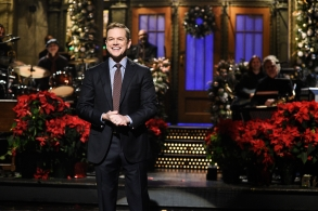 "SATURDAY NIGHT LIVE -- ""Matt Damon"" Episode 1755 -- Pictured: Host Matt Damon during the monologue in Studio 8H on Saturday, December 15, 2018 -- (Photo by: Will Heath/NBC)"