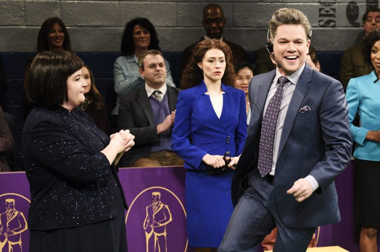 "SATURDAY NIGHT LIVE -- ""Matt Damon"" Episode 1755 -- Pictured: (l-r) Aidy Bryant as Georgina Mont-Blanc, Melissa Villaseñor as a Daddy handler, host Matt Damon as Broadcast Daddy, Ego Nwodim as a Daddy handler, and Chris Redd as Wall Street Business Daddy during the ""Westminster Daddy Show"" sketch in Studio 8H on Saturday, December 15, 2018 -- (Photo by: Will Heath/NBC)"