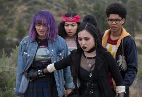 "Runaways -- ""Gimmie Shelter"" -- Episode 201 -- The kids struggle with their new lives as Runaways, but find a hideout. Alex goes to work for Darius while PRIDE plots to kill Jonah. Jonah initiates a plan to build a new box. Gert Yorkes (Ariela Barer), Molly Hernandez (Allegra Acosta), Nico Minoru (Lyrica Okano),  Alex Wilder (Rhenzy Felix) shown. (Photo by: Paul Sarkis / Hulu)"