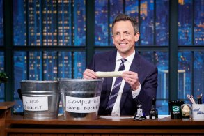"LATE NIGHT WITH SETH MEYERS -- Episode 774 -- Pictured: Host Seth Meyers during the sketch ""Joke Bucket"" on December 18, 2018 -- (Photo by: Lloyd Bishop/NBC)"
