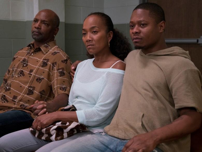 "David Alan Anderson, Sonja Sohn, and Jason Mitchell in ""The Chi."""