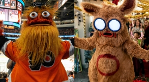 """Gritty (Flyers Mascot) and Pooka (from Hulu's """"Into the Dark"""")"""