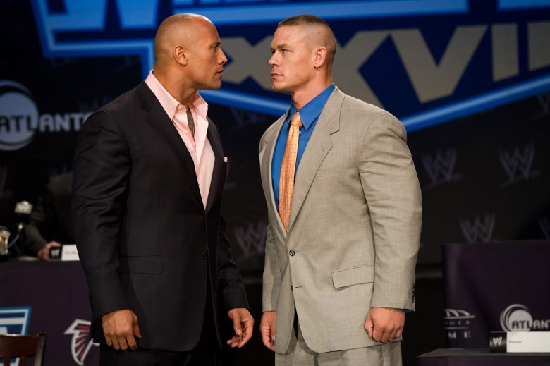 Dwayne Johnson and JOHN CENAWrestleMania XXVII Press Conference, New York, America - 30 Mar 2011
