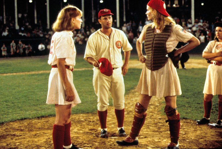 Editorial use only. No book cover usage.Mandatory Credit: Photo by Moviestore/REX/Shutterstock (1554747a) A League Of Their Own, Lori Petty, Tom Hanks, Geena Davis Film and Television