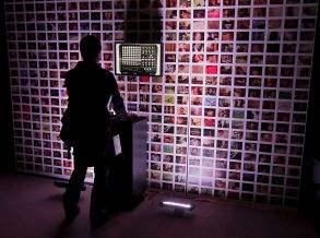 A Person Looks at a New Film Programme and Video Wall in the 'New Frontier' Lab at the 2009 Sundance Film Festival in Park City Utah Usa 15 January 2009 This is the 25th Anniversary of the Festival Which Starts Today and Runs Through January 25Usa Cineama Sundance Film Festival - Dec 2008