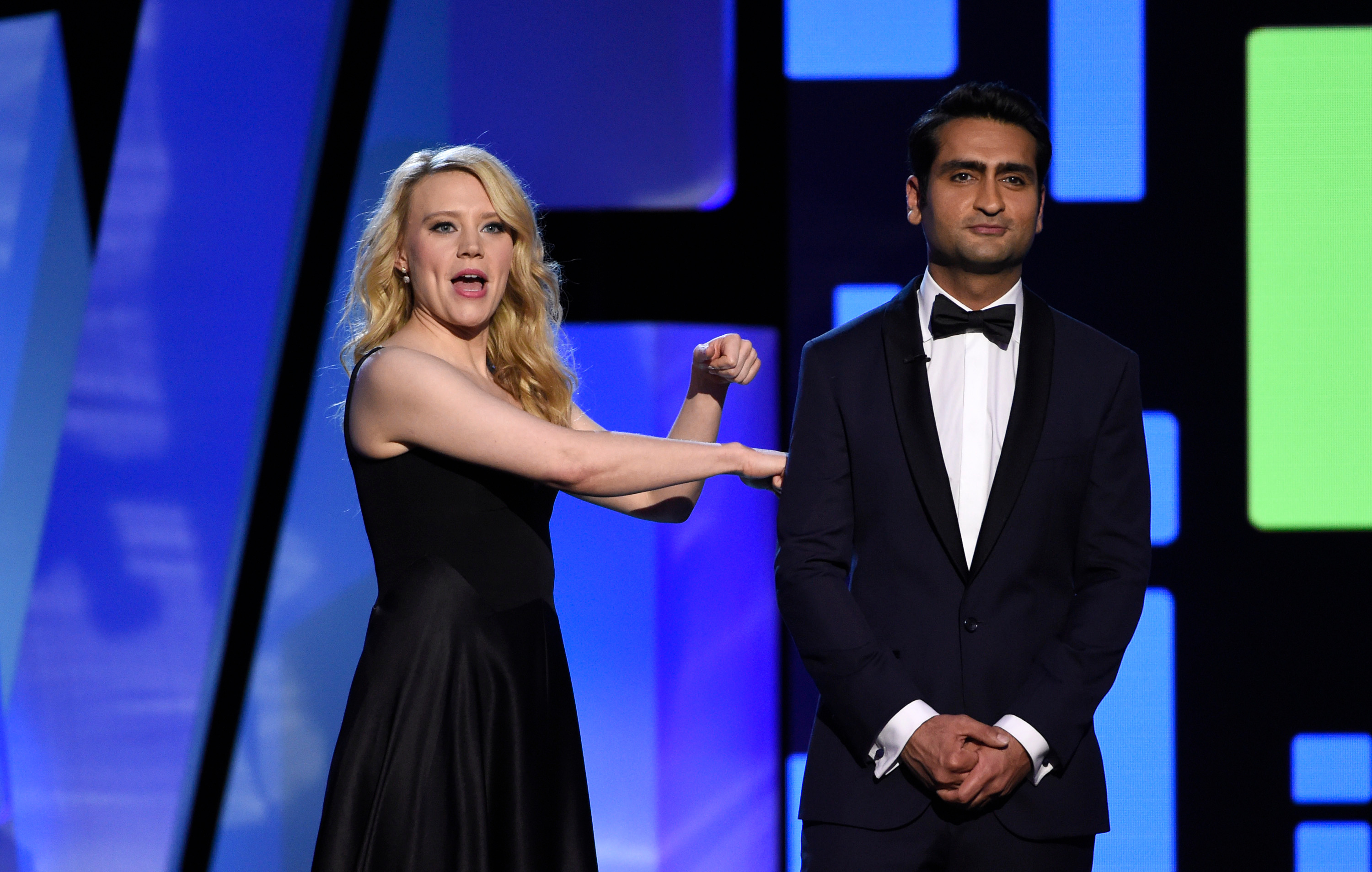 Hosts Kate McKinnon, left, and Kumail Nanjiani speak at the Film Independent Spirit Awards, in Santa Monica, Calif2016 Film Independent Spirit Awards - Show, Santa Monica, USA - 27 Feb 2016