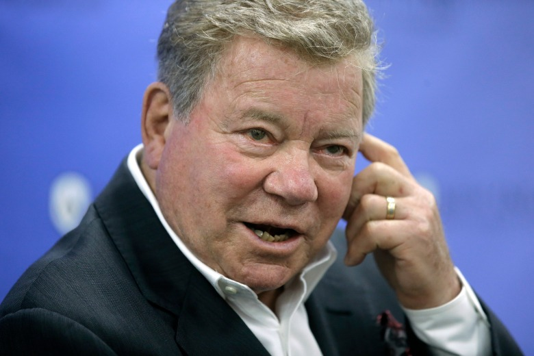 Actor William Shatner takes questions from reporters, after delivering the commencement address at New England Institute of Technology graduation ceremonies, in Providence, R.I. Shatner was presented with an honorary doctor of humane letters degree during the eventPeople Shatner Commencement, Providence, USA - 06 May 2018