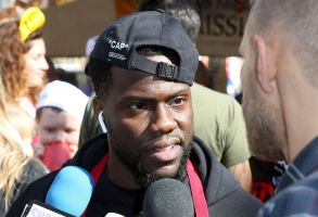 Kevin Hart talks to the media on the day he volunteers to serve Thanksgiving dinner to a group of homeless people at the Los Angeles Mission, in Los Angeles2018 Mission's Thanksgiving Dinner, Los Angeles, USA - 21 Nov 2018