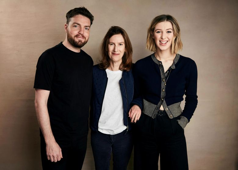 "Tom Burke, Joanna Hogg, Honor Swinton-Byrne. Tom Burke, from left, writer/director Joanna Hogg, and Honor Swinton-Byrne pose for a portrait to promote the film ""The Souvenir"" at the Salesforce Music Lodge during the Sundance Film Festival, in Park City, Utah2019 Sundance Film Festival - ""The Souvenir"" Portrait Session, Park City, USA - 28 Jan 2019"