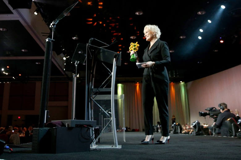PALM SPRINGS, CA - JANUARY 03: Glenn Close accepts the Icon Award onstage at the 30th Annual Palm Springs International Film Festival Film Awards Gala at Palm Springs Convention Center on January 3, 2019 in Palm Springs, California. (Photo by Rich Fury/Getty Images for Palm Springs International Film Festival )