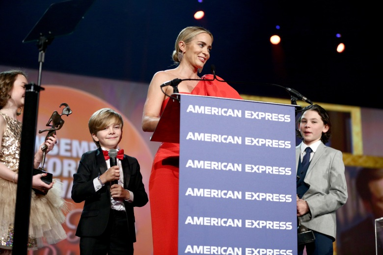 PALM SPRINGS, CA - JANUARY 03: (L-R) Pixie Davies, Joel Dawson, Emily Blunt, and Nathanael Saleh accept the Ensemble Performance Award onstage at the 30th Annual Palm Springs International Film Festival Film Awards Gala at Palm Springs Convention Center on January 3, 2019 in Palm Springs, California. (Photo by Rich Fury/Getty Images for Palm Springs International Film Festival )