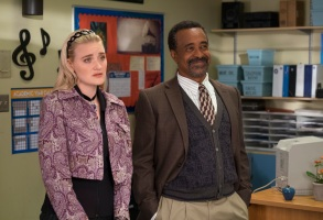"""SCHOOLED - """"Be Like Mike"""" - It's 1990-something, and since Lainey still hasn't achieved rock 'n' roll greatness, she returns to William Penn Academy as the new music teacher. Lainey has a hard time adjusting to being an authority figure, but she realizes she might not be so bad at it when she discovers a kindred spirit in Principal Glascott's niece, Felicia. Meanwhile, Coach Mellor struggles with Michael Jordan's influence on modern-day basketball on the series premiere of """"Schooled,"""" airing WEDNESDAY, JAN. 9 (8:31-9:00 p.m. EST), on The ABC Television Network. (ABC/John Fleenor)AJ MICHALKA, TIM MEADOWS"""