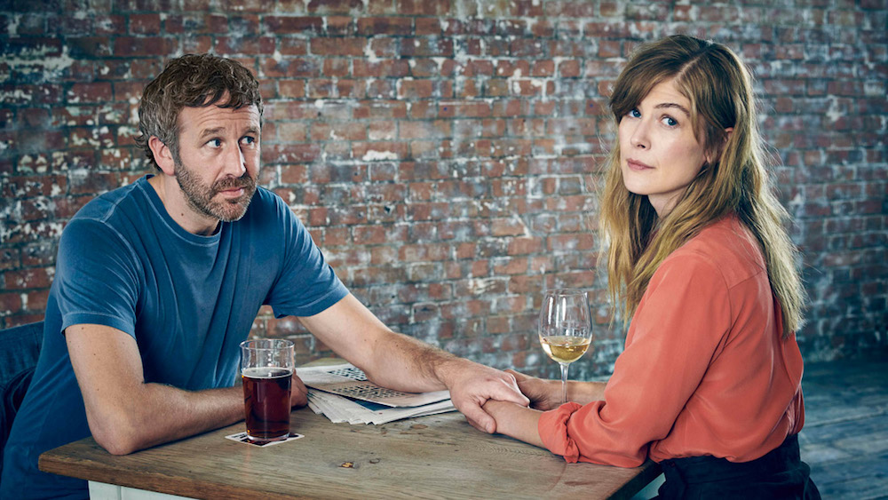 Chris O'Dowd and Rosamund Pike appear in <i>State of the Union</i> by Stephen Frears, an official selection of the Indie Episodic program at the 2019 Sundance Film Festival. Courtesy of Sundance Institute | photo by Mark Hom.All photos are copyrighted and may be used by press only for the purpose of news or editorial coverage of Sundance Institute programs. Photos must be accompanied by a credit to the photographer and/or 'Courtesy of Sundance Institute.' Unauthorized use, alteration, reproduction or sale of logos and/or photos is strictly prohibited.