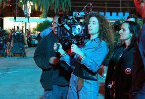 "Director Alma Harel and cinematographer Natasha Braier shooting ""Honey Boy"""