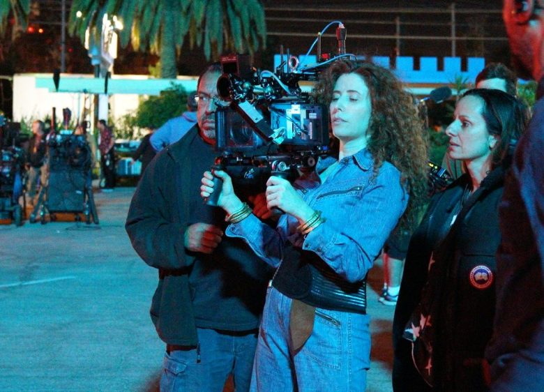 "Director Alma Harel and cinematographer Natasha Braier shooting ""Honey Boy"""