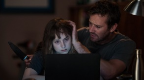 Dakota Johnson and Armie Hammer appear in Wounds by Babak Anvari, an official selection of the Midnight program at the 2019 Sundance Film Festival. Courtesy of Sundance Institute | photo by Michele K Short. All photos are copyrighted and may be used by press only for the purpose of news or editorial coverage of Sundance Institute programs. Photos must be accompanied by a credit to the photographer and/or 'Courtesy of Sundance Institute.' Unauthorized use, alteration, reproduction or sale of logos and/or photos is strictly prohibited.
