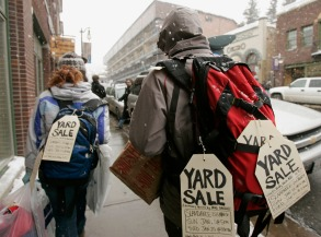 """YARD SALE Filmmaker Brad Barber, right, advertises his documentary film """"Yard Sale"""" as he walks along Main Street during the Sundance Film Festival in Park City, Utah, . """"Yard Sale"""" is playing at the Slamdance Film Festival, which is simultaneous to SundanceSUNDANCE, PARK CITY, USA"""