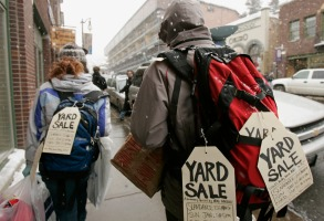 "YARD SALE Filmmaker Brad Barber, right, advertises his documentary film ""Yard Sale"" as he walks along Main Street during the Sundance Film Festival in Park City, Utah, . ""Yard Sale"" is playing at the Slamdance Film Festival, which is simultaneous to SundanceSUNDANCE, PARK CITY, USA"