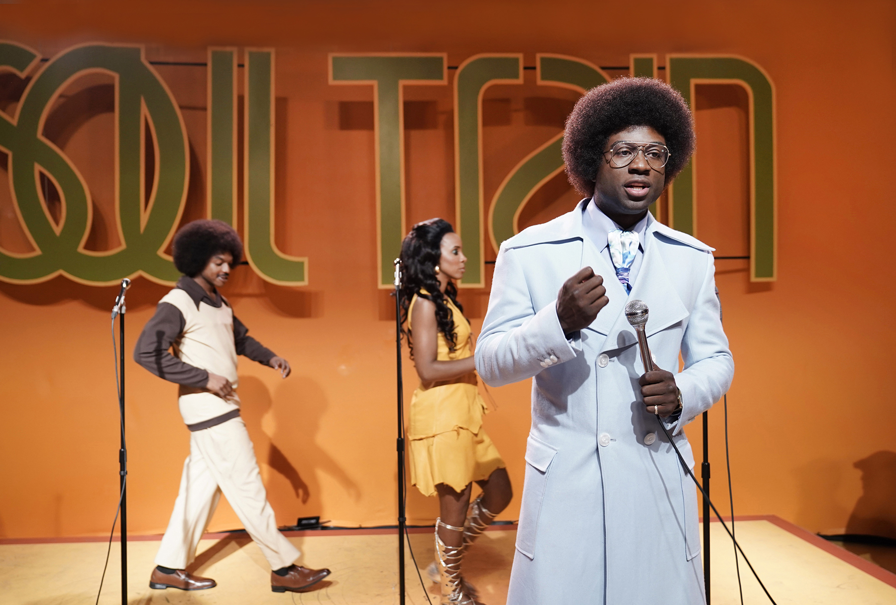 "Still of Sinqua Walls as Don Cornelius from BET's ""American Soul"" episode 102. (Photo: Jace Downs/BET)"