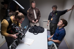 """""""Extremely Wicked, Shockingly Evil and Vile"""" DoP Brandon Trost and director Joe Berlinger shooting a scene with Zac Efron as Ted Bundy"""