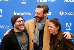 Scott Z. Burns, Jon Hamm and Maura Tierney