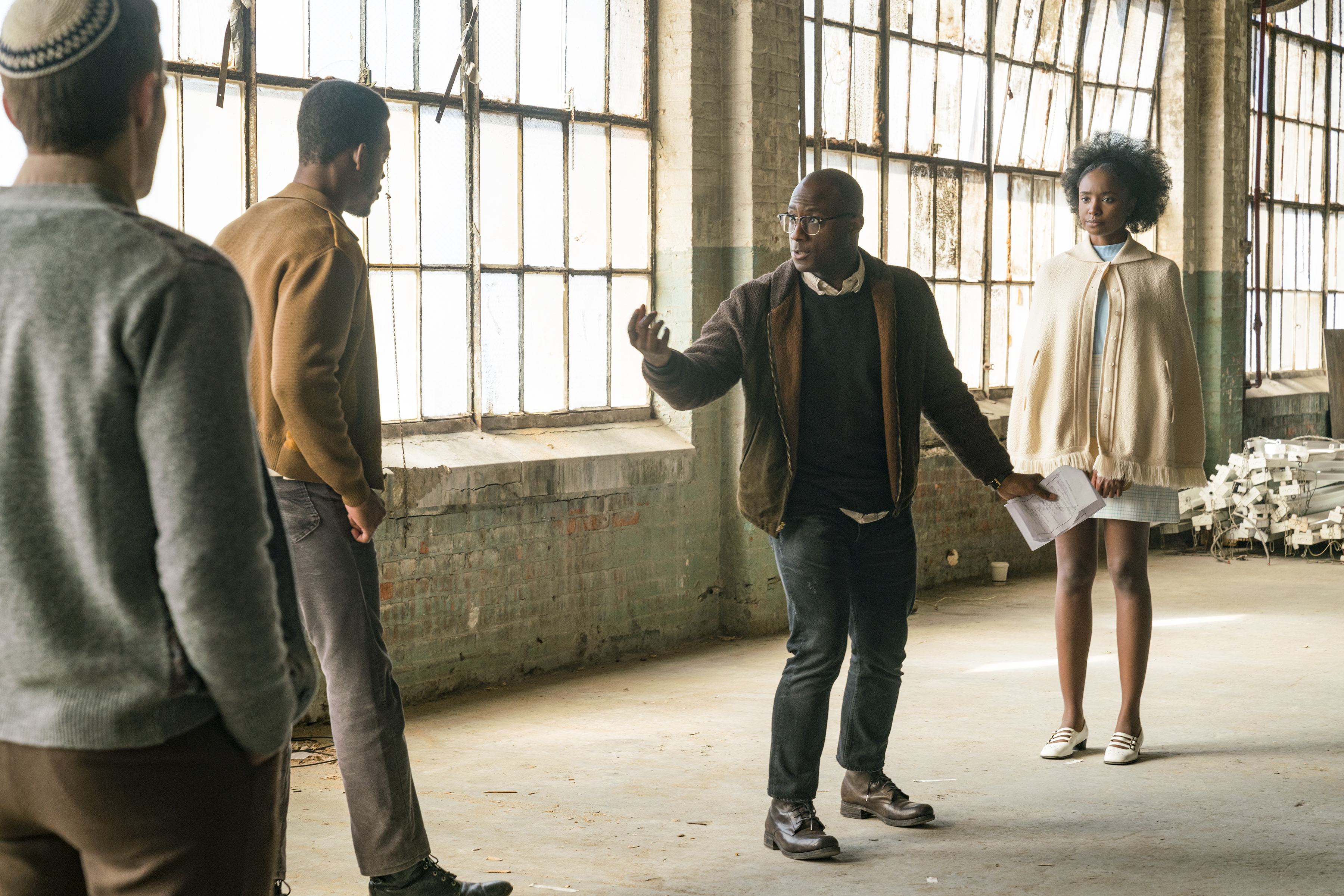 (l to r.) Actor Stephan James, director Barry Jenkins, and actor KiKi Layne on the set of IF BEALE STREET COULD TALK, an Annapurna Pictures release.