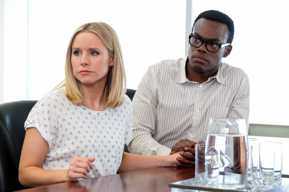 "THE GOOD PLACE -- ""Chidi Sees the Time-Knife"" Episode 312 -- Pictured: (l-r) Kristen Bell as Eleanor, William Jackson Harper as Chidi -- (Photo by: Colleen Hayes/NBC)"