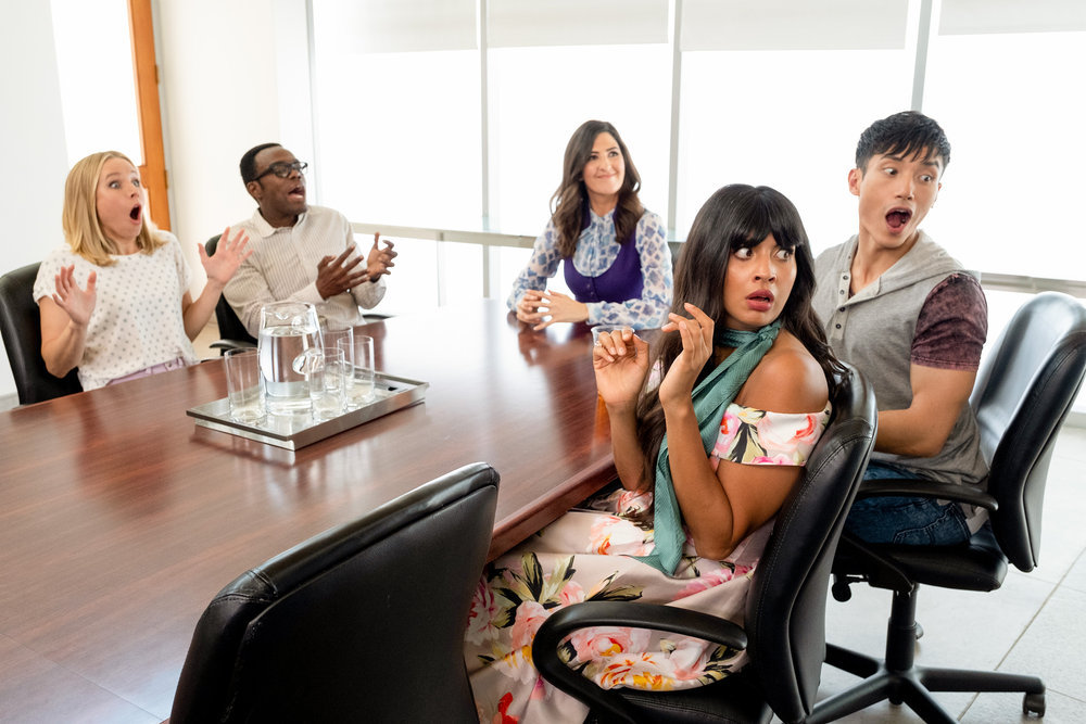 """THE GOOD PLACE -- """"Chidi Sees the Time-Knife"""" Episode 312 -- Pictured: (l-r) Kristen Bell as Eleanor, William Jackson Harper as Chidi, D'Arcy Carden as Janet, Manny Jacinto as Jason, Jameela Jamil as Tehani -- (Photo by: Colleen Hayes/NBC)"""