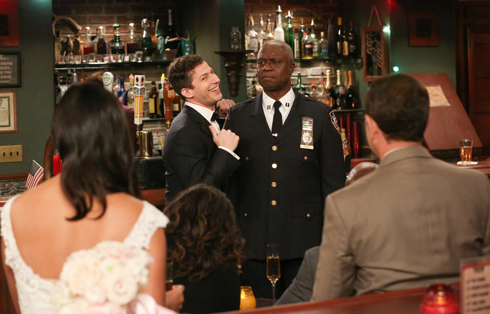 "BROOKLYN NINE-NINE -- ""Honeymoon"" Episode 601 -- Pictured: (l-r) Andy Samberg as Jake Peralta, Andre Braugher as Ray Holt Brooklyn 99"
