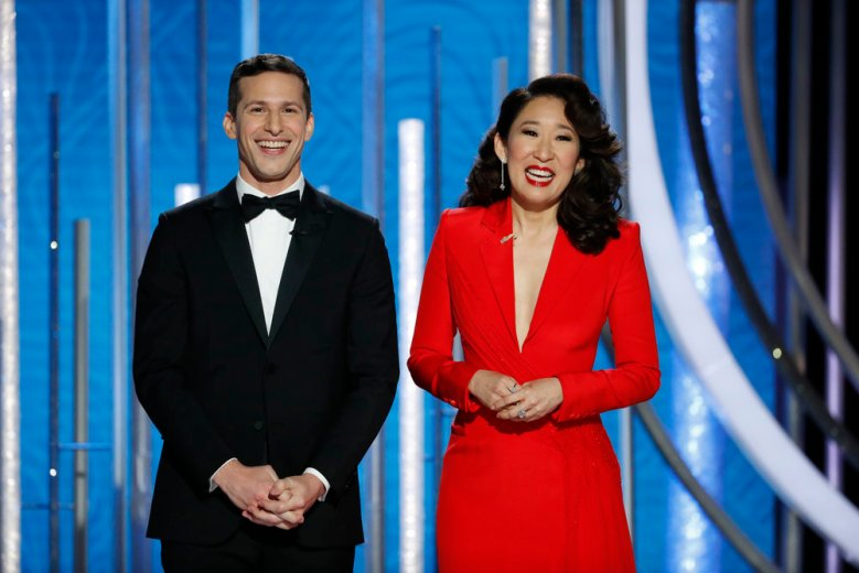 76th ANNUAL GOLDEN GLOBE AWARDS -- Pictured: Andy Samberg and Sandra Oh at the 76th Annual Golden Globe Awards held at the Beverly Hilton Hotel on January 6, 2019 -- (Photo by: Paul Drinkwater/NBC)
