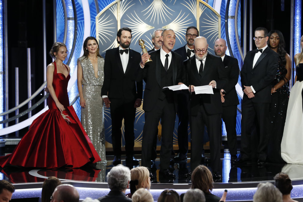 76th ANNUAL GOLDEN GLOBE AWARDS -- Pictured: Joe Weinberg (r), acceptor of Best TV Series, Drama for The Americans at the 76th Annual Golden Globe Awards held at the Beverly Hilton Hotel on January 6, 2019 -- (Photo by: Paul Drinkwater/NBC)