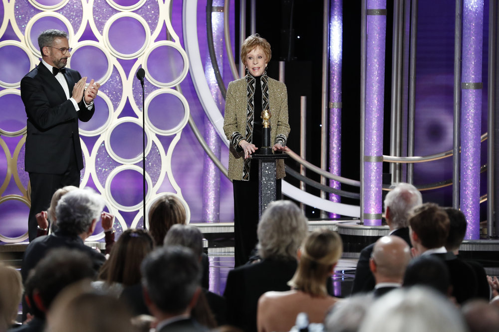 76th ANNUAL GOLDEN GLOBE AWARDS -- Pictured: Steve Carell and Carol Burnett, accepting the Carol Burnett TV Achievement Award at the 76th Annual Golden Globe Awards held at the Beverly Hilton Hotel on January 6, 2019 -- (Photo by: Paul Drinkwater/NBC)