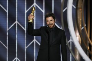 "76th ANNUAL GOLDEN GLOBE AWARDS -- Pictured: Christian Bale, Best Actor - Motion Picture, Musical or Comedy, ""Vice"" at the 76th Annual Golden Globe Awards held at the Beverly Hilton Hotel on January 6, 2019 -- (Photo by: Paul Drinkwater/NBC)"