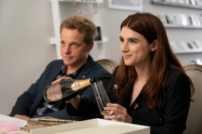 """YOU'RE THE WORST -- """"The Intransigence of Love"""" - Season 5, Episode 1 (Airs January 9, 10:00 pm e/p)  Pictured (l-r): Chris Geere as Jimmy, Aya Cash as Gretchen. CR: Byron Cohen/FXX"""