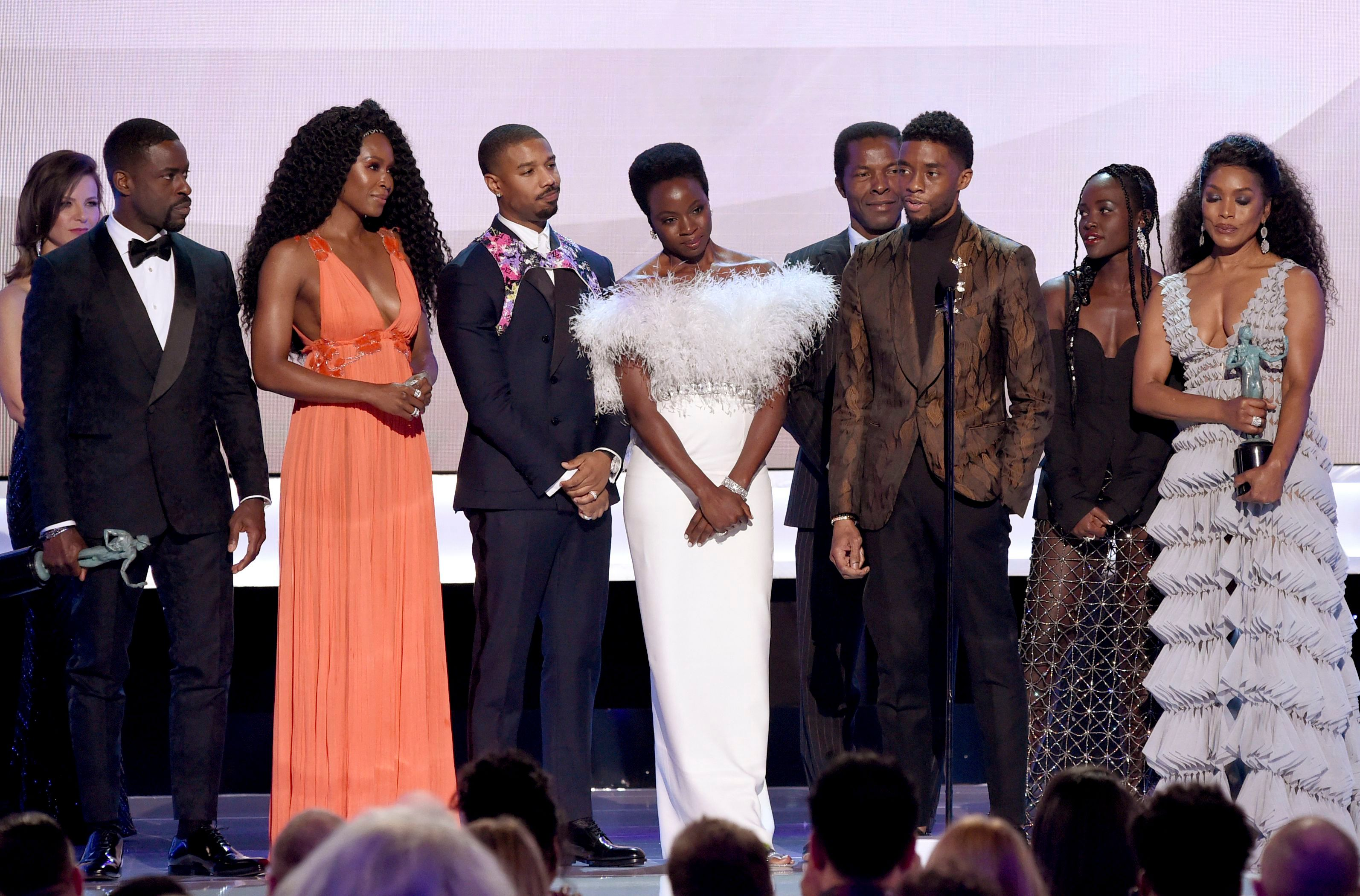 "Sterling K. Brown, Sydelle Noel, Michael B. Jordan, Danai Gurira, Isaach de Bankole, Chadwick Boseman, Lupita Nyong'o, Angela Bassett. Sterling K. Brown, from left, Sydelle Noel, Michael B. Jordan, Danai Gurira, Isaach de Bankole, Chadwick Boseman, Lupita Nyong'o and Angela Bassett from the cast of ""Black Panther,"" accept the award for outstanding performance by a cast in a motion picture at the 25th annual Screen Actors Guild Awards at the Shrine Auditorium & Expo Hall, in Los Angeles25th Annual SAG Awards - Show, Los Angeles, USA - 27 Jan 2019"