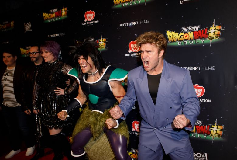 Vic Mignogna (R) poses during arrivals for the premiere of 'Dragon Ball Super: Broly' at the TCL Chinese Theater in Hollywood, California, USA, 13 December 2018. Mignogna voices the character of Broly in the anime film.'Dragon Ball Super: Broly' movie premiere arrivals, Hollywood, USA - 13 Dec 2018
