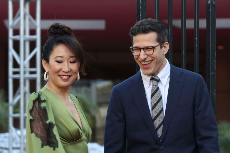 Sandra Oh, Andy Samberg. Sandra Oh, left, and Andy Samberg smile after rolling-up the red carpet at the 76th Annual Golden Globe Awards Preview Day at The Beverly Hilton, in Beverly Hills, Calif76th Annual Golden Globe Awards - Preview Day, Beverly Hills, USA - 03 Jan 2019