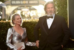 Jeff Bridges, Susan Geston. Jeff Bridges, right, and Susan Geston arrive at the 76th annual Golden Globe Awards at the Beverly Hilton Hotel, in Beverly Hills, Calif76th Annual Golden Globe Awards - Arrivals, Beverly Hills, USA - 06 Jan 2019