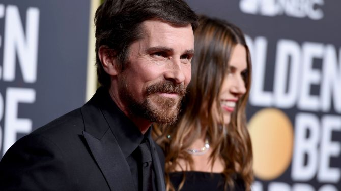 Christian Bale, Sibi Blazic. Christian Bale, left, and Sibi Blazic arrives at the 76th annual Golden Globe Awards at the Beverly Hilton Hotel, in Beverly Hills, Calif76th Annual Golden Globe Awards - Arrivals, Beverly Hills, USA - 06 Jan 2019
