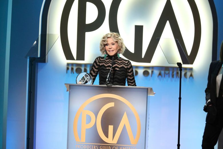 Jane Fonda accepts the Stanley Kramer Award at the 30th Producers Guild Awards presented by Cadillac at the Beverly Hilton, in Beverly Hills, Calif30th Producers Guild Awards presented by Cadillac - Inside, Beverly Hills, USA - 19 Jan 2019