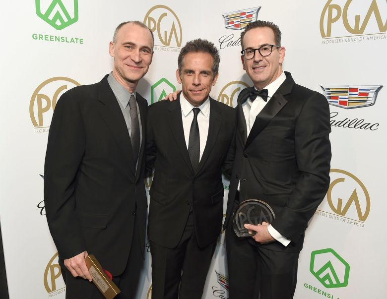 """Joel Fields, Darryl Frank, Ben Stiller. Ben Stiller, center, poses with Joel Fields, left, and Darryl Frank, winners of the Norman Felton Award for Episodic Television, Drama for """"The Americans,"""" at the 30th Producers Guild Awards presented by Cadillac at the Beverly Hilton, in Beverly Hills, Calif30th Producers Guild Awards presented by Cadillac - Inside, Beverly Hills, USA - 19 Jan 2019"""