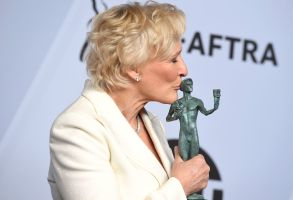 "Glenn Close poses with the award for outstanding performance by a female actor in a leading role for ""The Wife"" in the press room at the 25th annual Screen Actors Guild Awards at the Shrine Auditorium & Expo Hall, in Los Angeles25th Annual SAG Awards - Press Room, Los Angeles, USA - 27 Jan 2019"