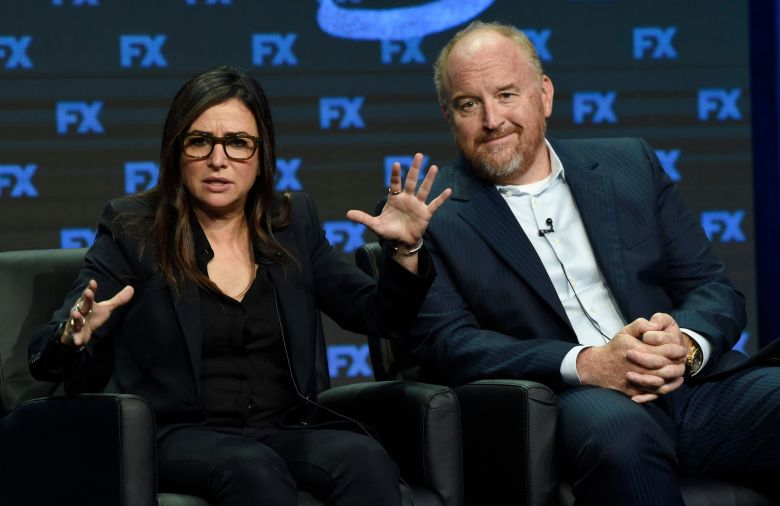 "Pamela Adlon, Louis C.K Pamela Adlon, co-creator/director/writer/executive producer/actress, left, and Louis C.K., co-creator/writer/executive producer, participate in the ""Better Things"" panel during the FX Television Critics Association Summer Press Tour at the Beverly Hilton, in Beverly Hills, Calif2017 Summer TCA - FX, Beverly Hills, USA - 09 Aug 2017"
